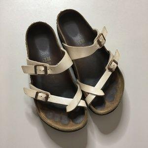 Birkenstock Womens Sandals Slip On Pearl White